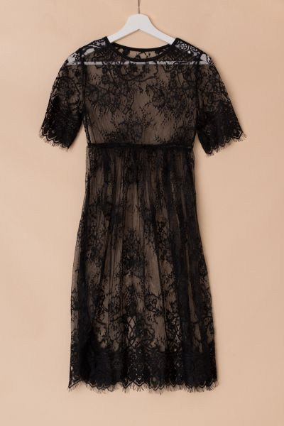 kurzes Schwangerschaftskleid vintage aus Spitze schwarz