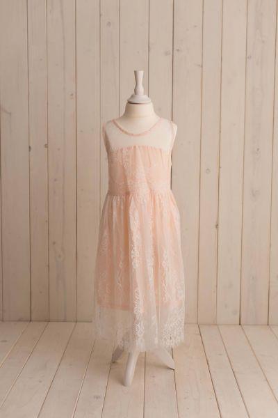 SOMMERKOLLEKTION - zartes Spitzenkleid in rosé *bis146*