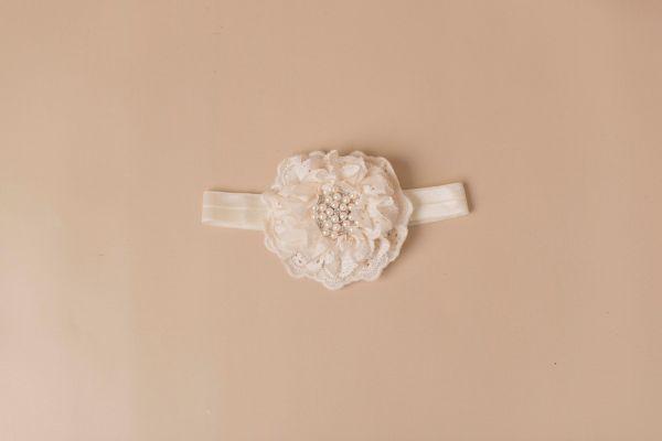 Vintage-Stil Haarband mit Blume, Kristallen und Spitze