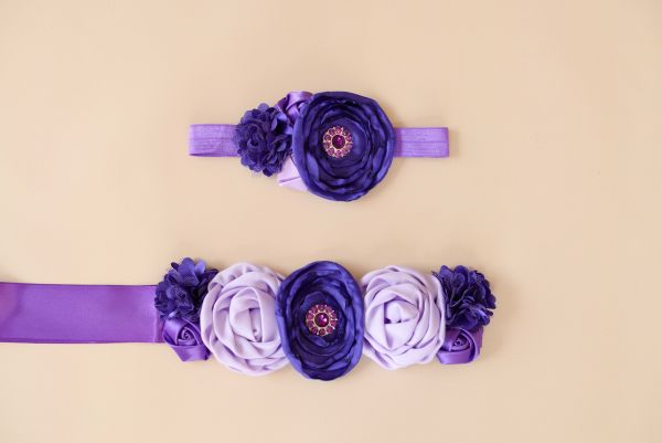 Set: Bauchband & Haarband lila