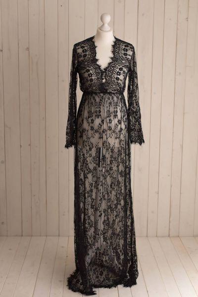 schwarz - Romantisches Schwangerschaftskleid aus Spitze mit V-Ausschnitt