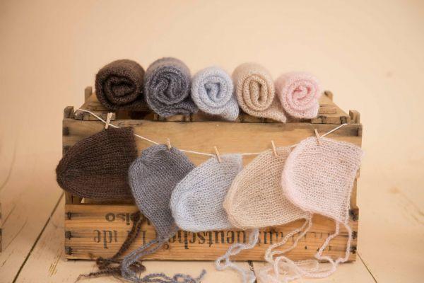 Set: Mohair-Wrap und Mütze in vielen Farben