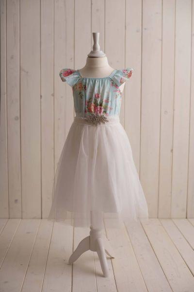 *SALE* - blumiges Kleid mit Tüllrock und Kristallgürtel