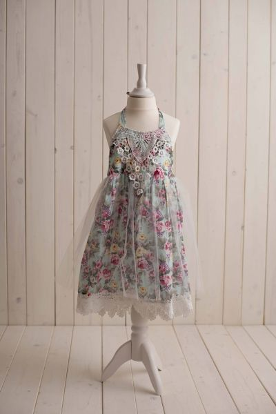 SOMMERKOLLEKTION - blumiges Kleid mit Neck-Holder