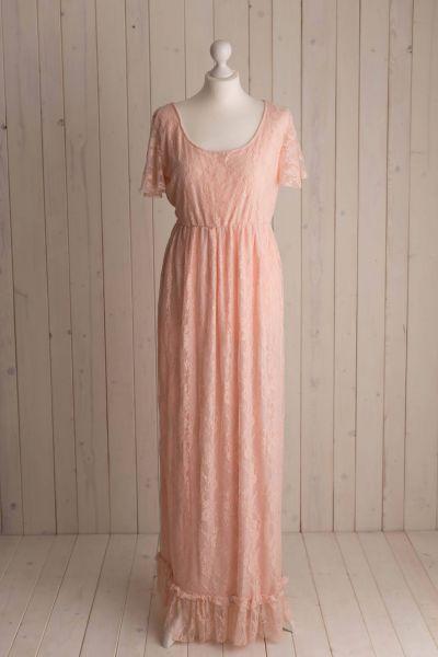 EINZELSTÜCK Gr. L - Schwangerschaftskleid in rosé aus Spitze