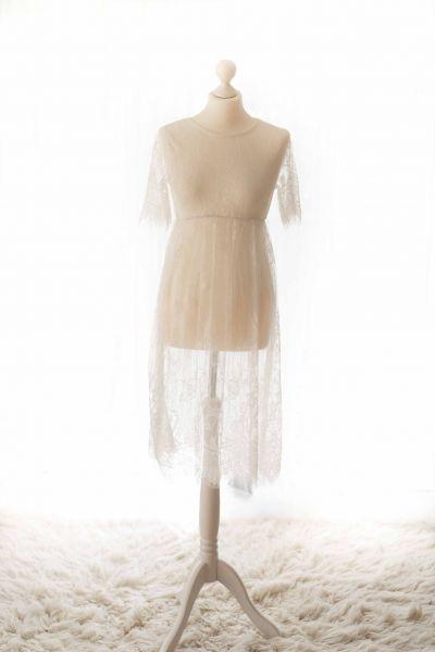 kurzes Schwangerschaftskleid vintage aus Spitze weiß