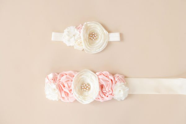 Set: Bauchband & Haarband creme/rosa