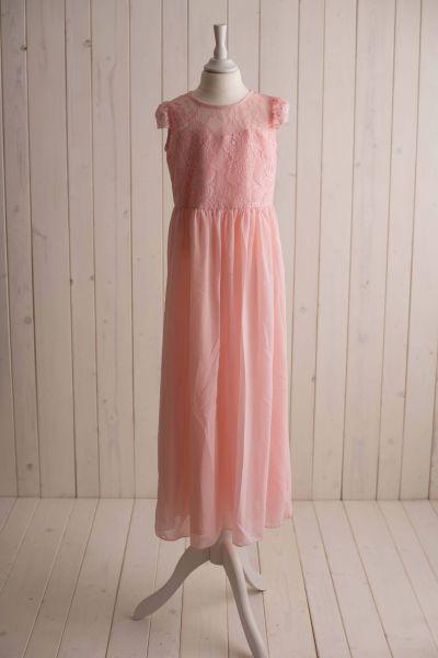 langes Kleid mit Spitzenoberteil in rosé *auch große Größen*
