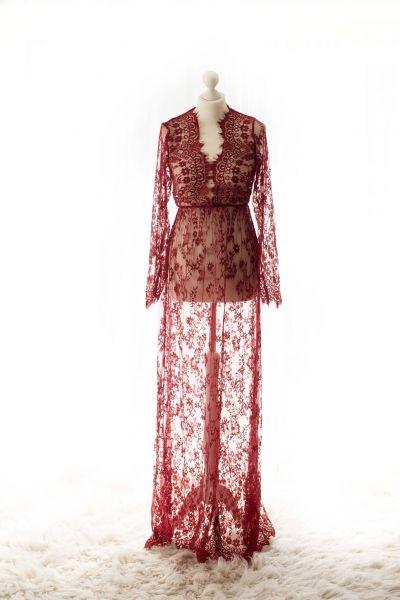 bordeaux-rot - Romantisches Schwangerschaftskleid aus Spitze mit V-Ausschnitt