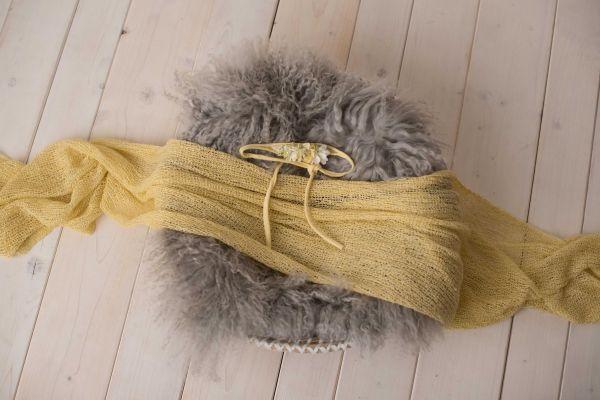 Set: Haarband, Stretch-Wrap & Fell (gelb)