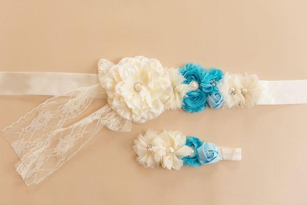 Set: Bauchband & Haarband creme/blau